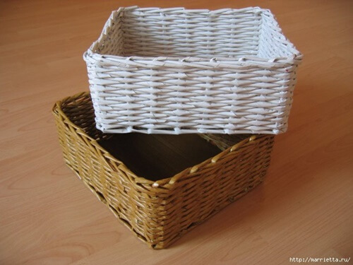 11. Woven DIY Basket From Recycled Newspaper