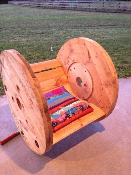 13. DIY Cable Drum Rocking Chair