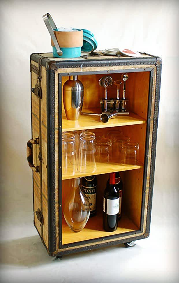 13. DIY Conversion of Old Suitcase to a Liquor Cabinet