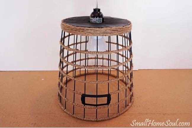 13. Hanging Light DIY Basket