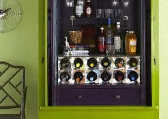 19. Repurposing Antique Armoires to a Liquor Cabinet