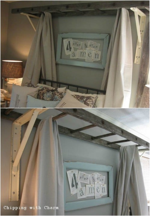 2. Old Ladder Re-Purposed DIY Bed Tent