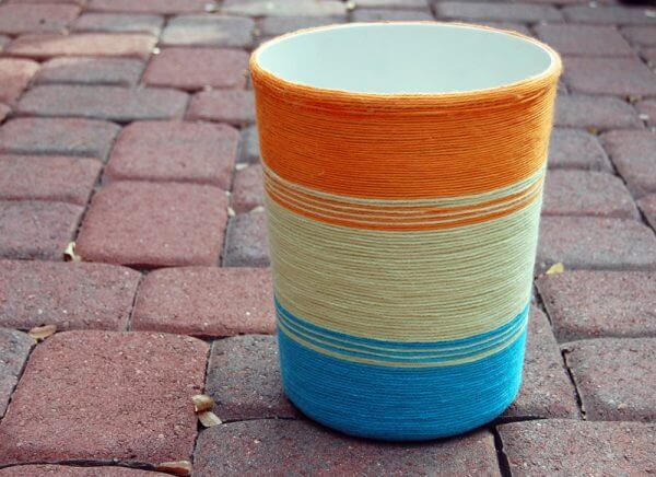 20. Trash can be wrapped with yarn
