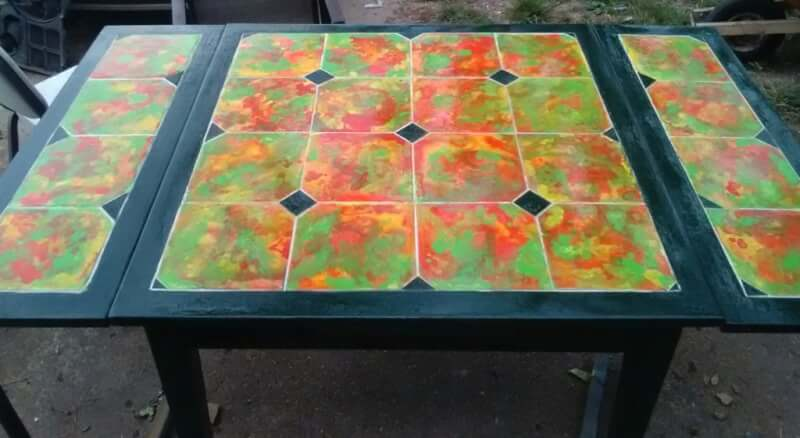 21. Alcohol Ink Tiled Table Top DIY