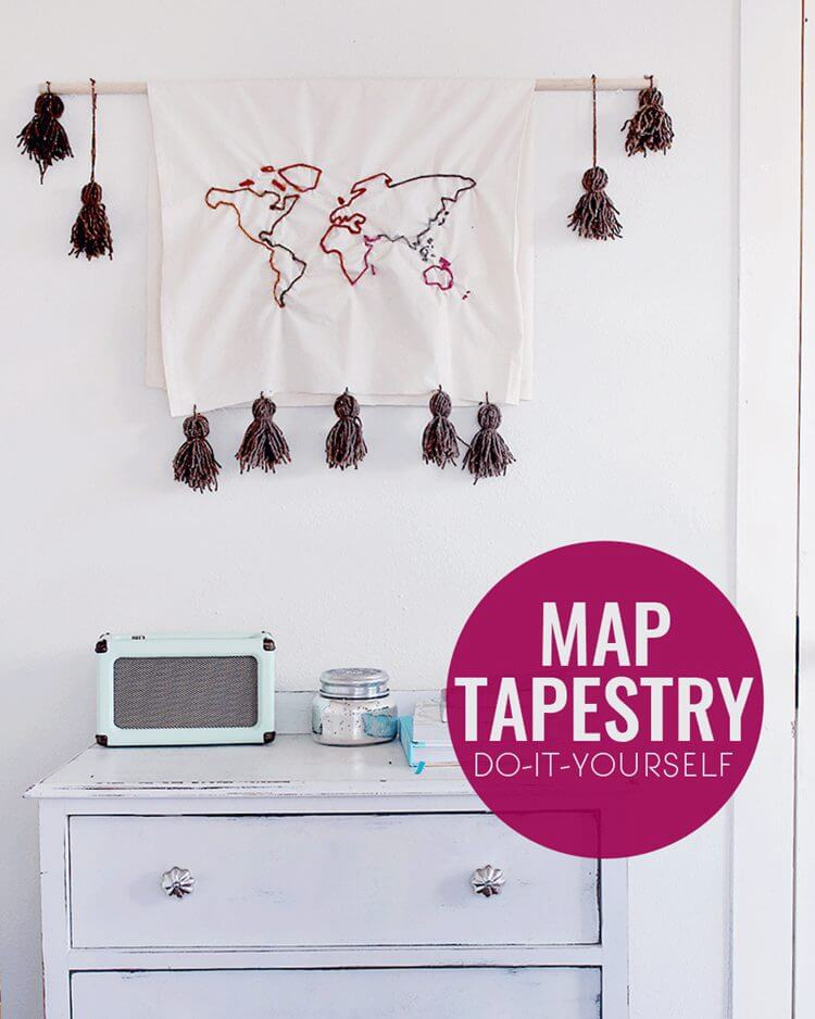 21. DIY Map Tapestry