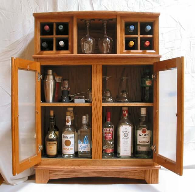 22. DIY Building Custom Liquor Cabinet