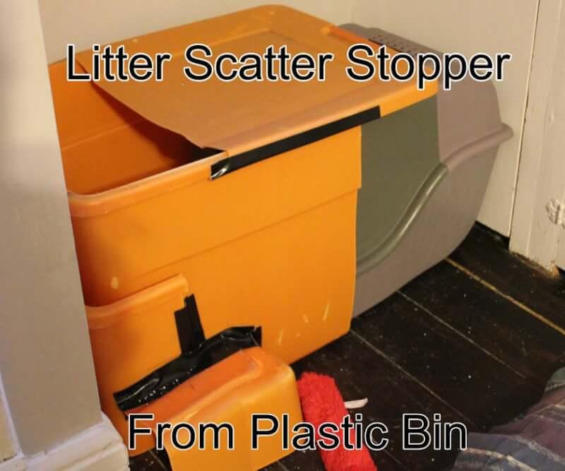 24. Cat Litter Box with Litter Scatter Stopper DIY