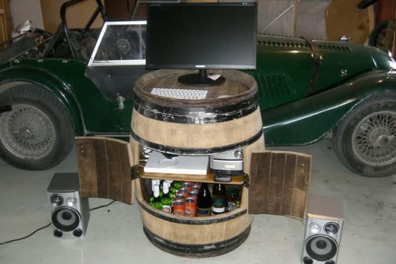 3. DIY Conversion of a Wine Barrel into a Liquor Cabinet