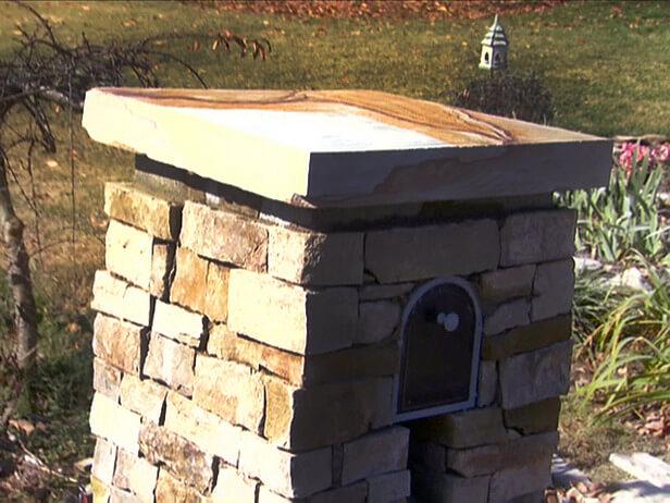 3. Stone DIY Mailbox Post