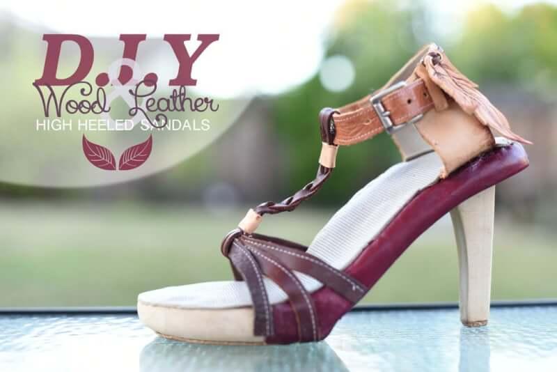 37. DIY High Wood Heel Sandals