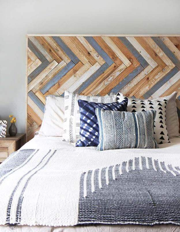 4.Herringbone Pattern DIY Rustic Headboard