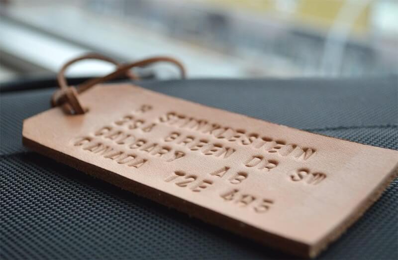 5. DIY Embossed Leather Luggage Tag