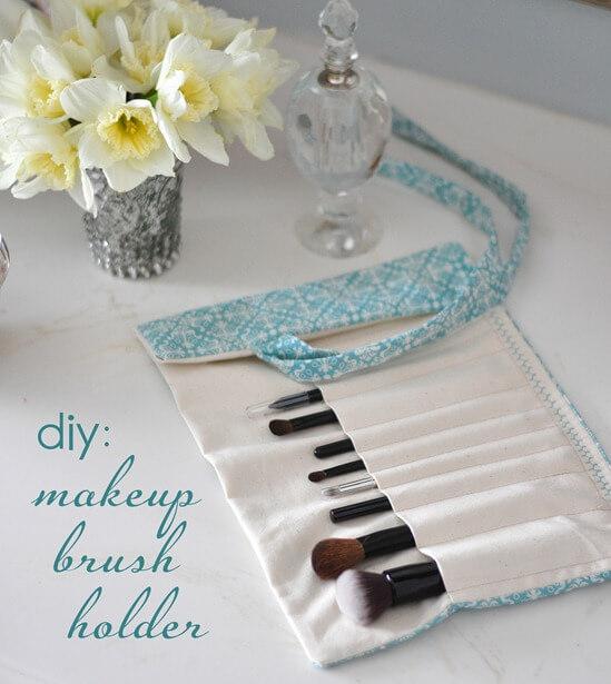 5. Fabric DIY Makeup Brush Holder