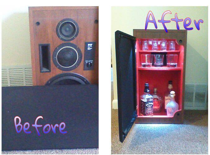 6. DIY Conversion of Unused Speaker Into Mini Liquor Cabinet