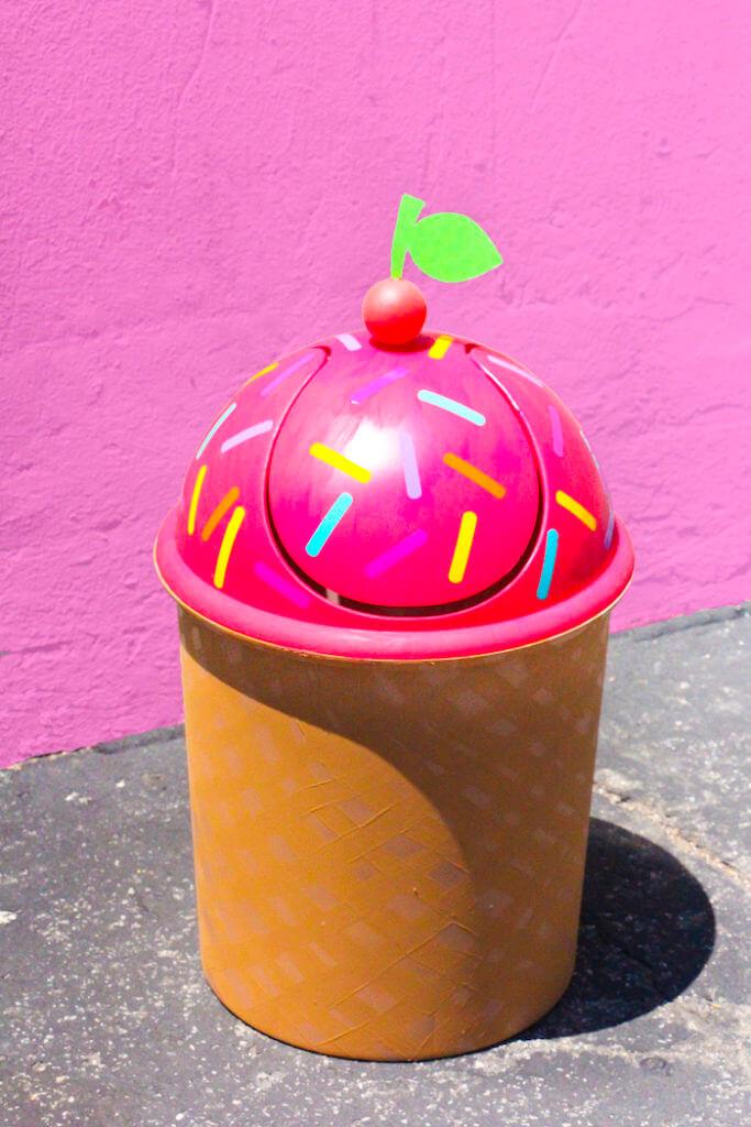 6. Ice Cream themed trash can