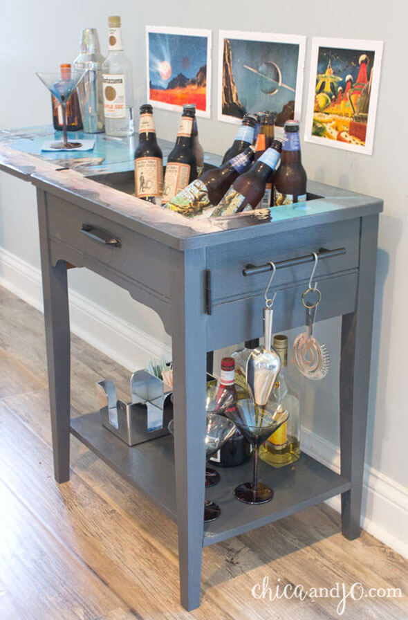 7. DIY Converting a Sewing Machine Table To a Liquor Cabinet