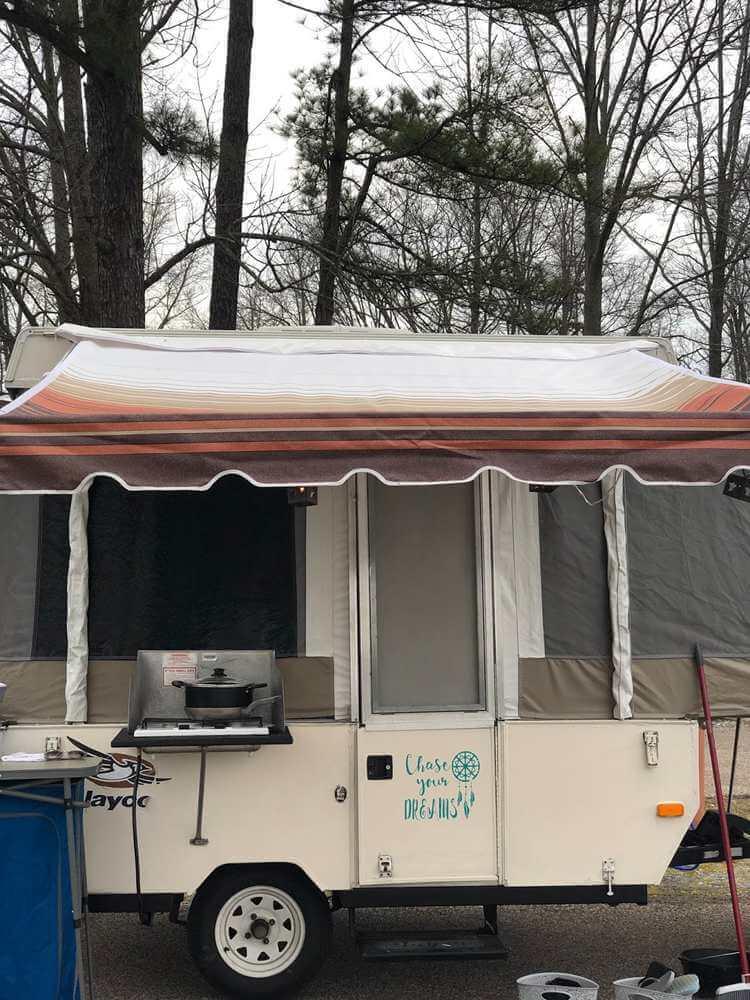 10. DIY camper awning for pop-up camper