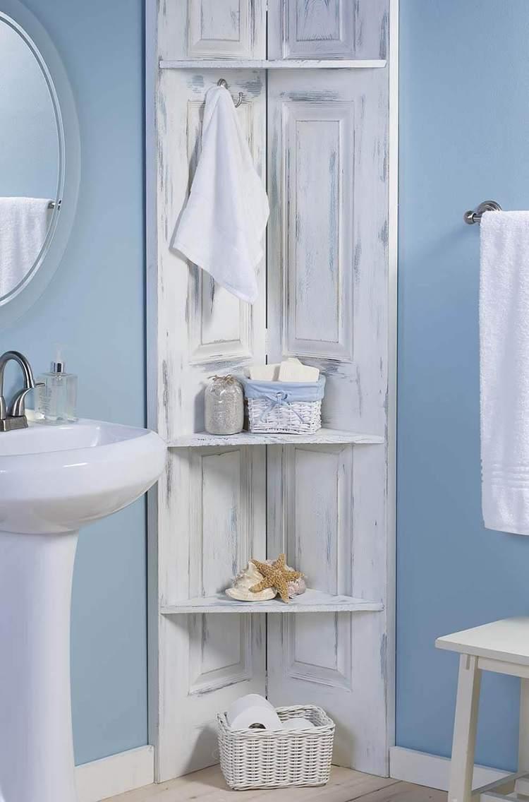 11. DIY Bathroom Corner Shelves