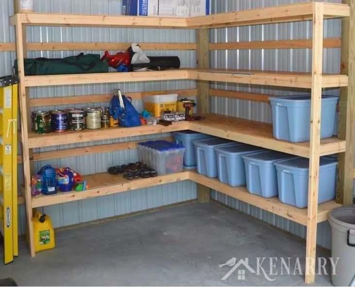 11. DIY Corner Storage Shed Shelves Garage