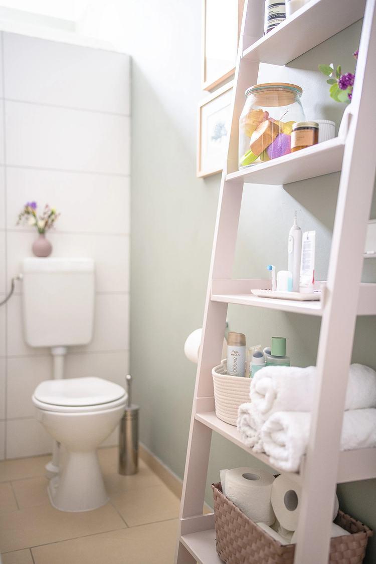 11. DIY Ladder Shelf For Bathroom