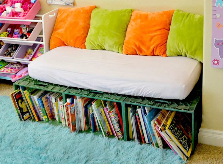 12. Book Storage with Bench