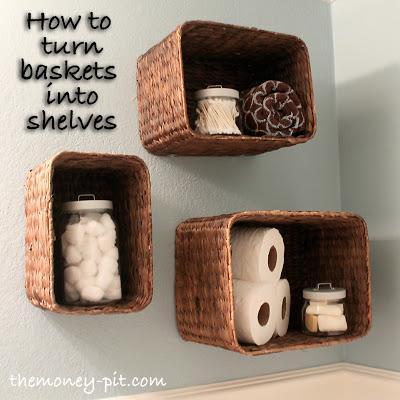 12. DIY Basket Shelves For Bathroom