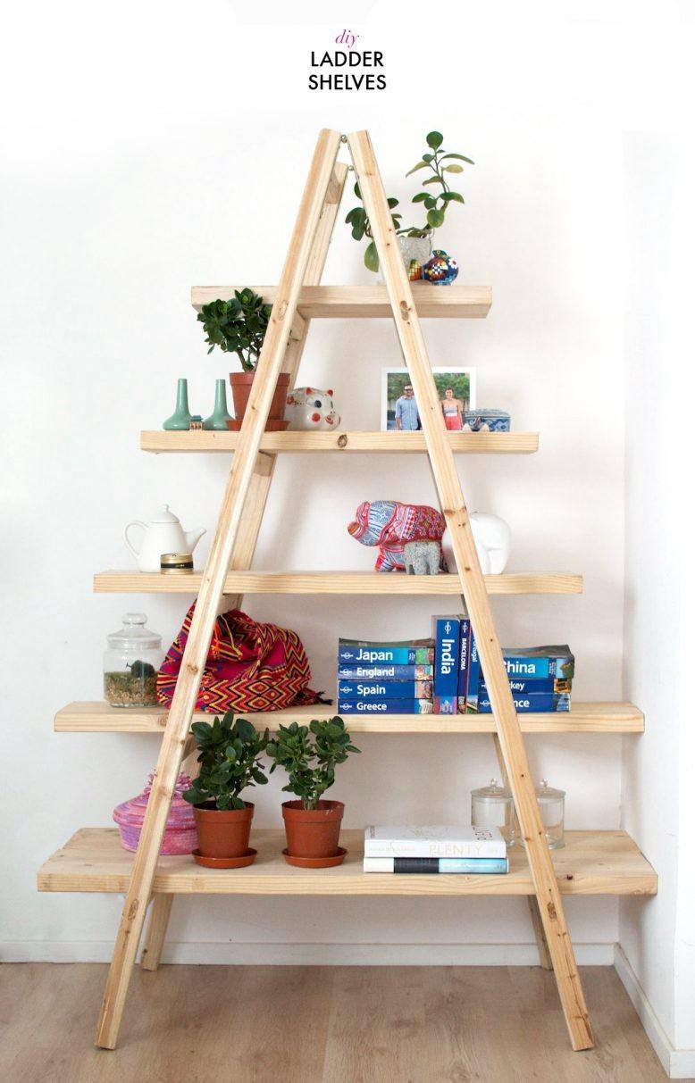 12. DIY Ladder Shelves