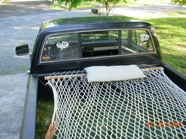 12. Install a hammock on your truck bed
