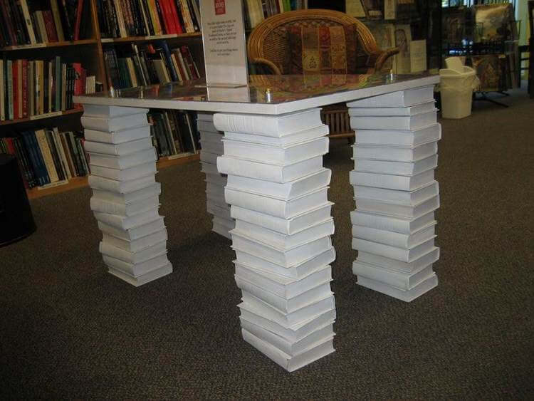 13. DIY Table Legs Out Of Books