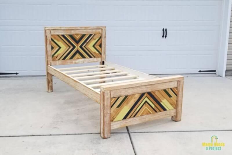 13. DIY Twin Bed Frame with Geometric Wood Art
