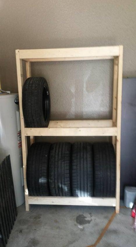 14. DIY Garage Shelf For Tires