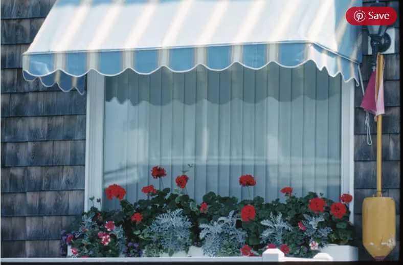 14. DIY stationery window awning using PVC pipe