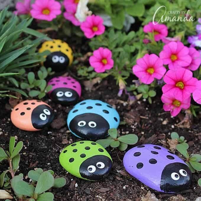 15. DIY Ladybug Painted Rocks