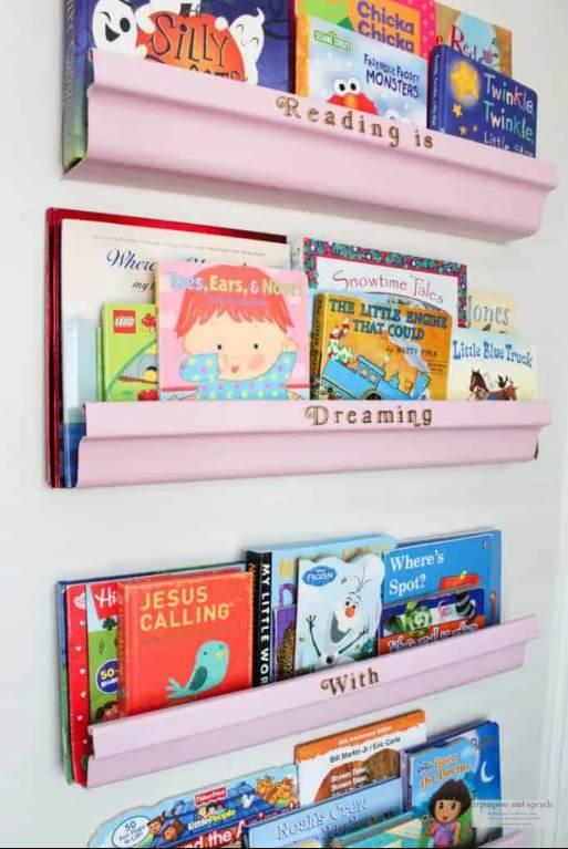 15. Rain Gutter Bookshelf