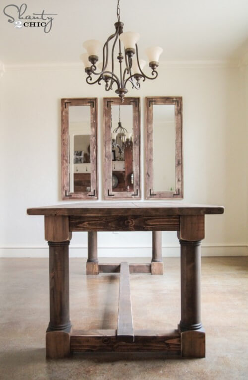 16. DIY Dining Table With Turned Legs