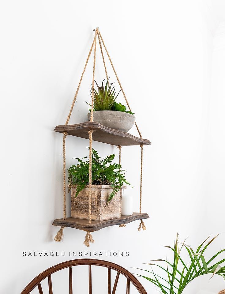 18. DIY Hanging Rope Shelf