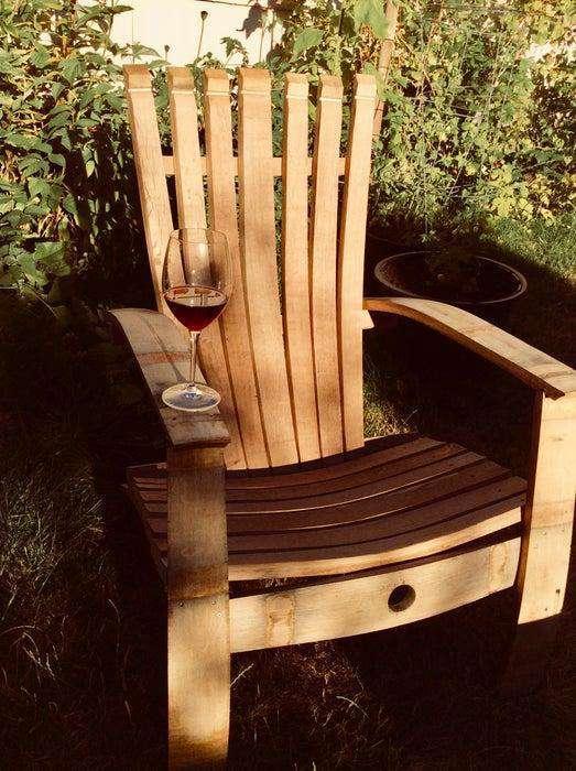 18. DIY Wine Barrel Adirondack Chair