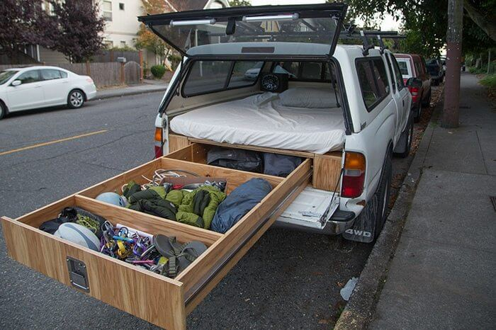 18. Simple bed storage compartments