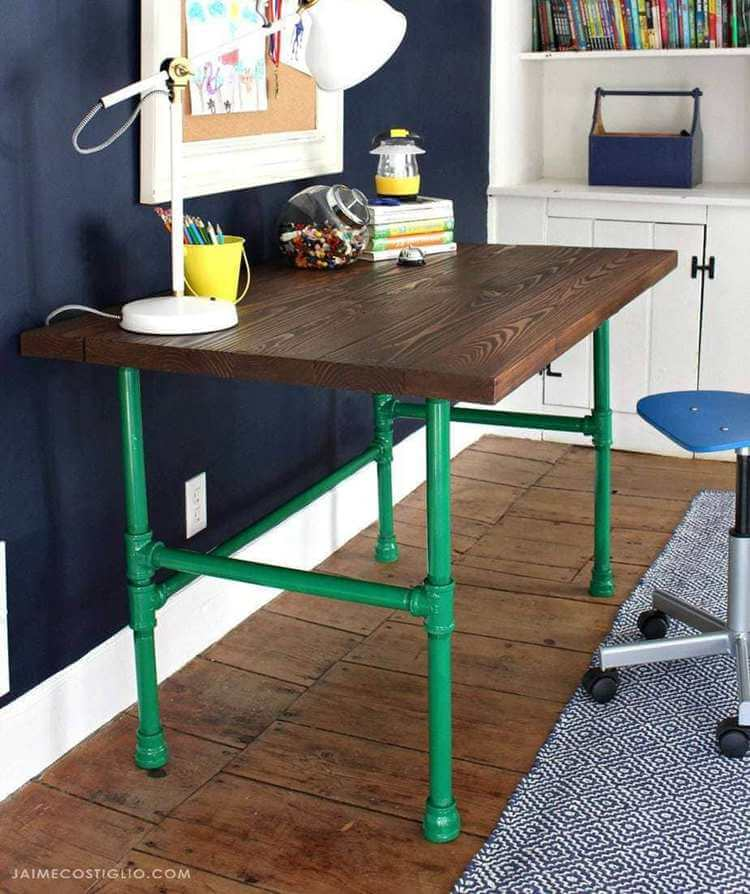 19. DIY Pipe Table With Painted Base