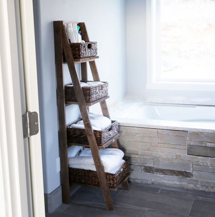 19. DIY Wooden Ladder Shelf