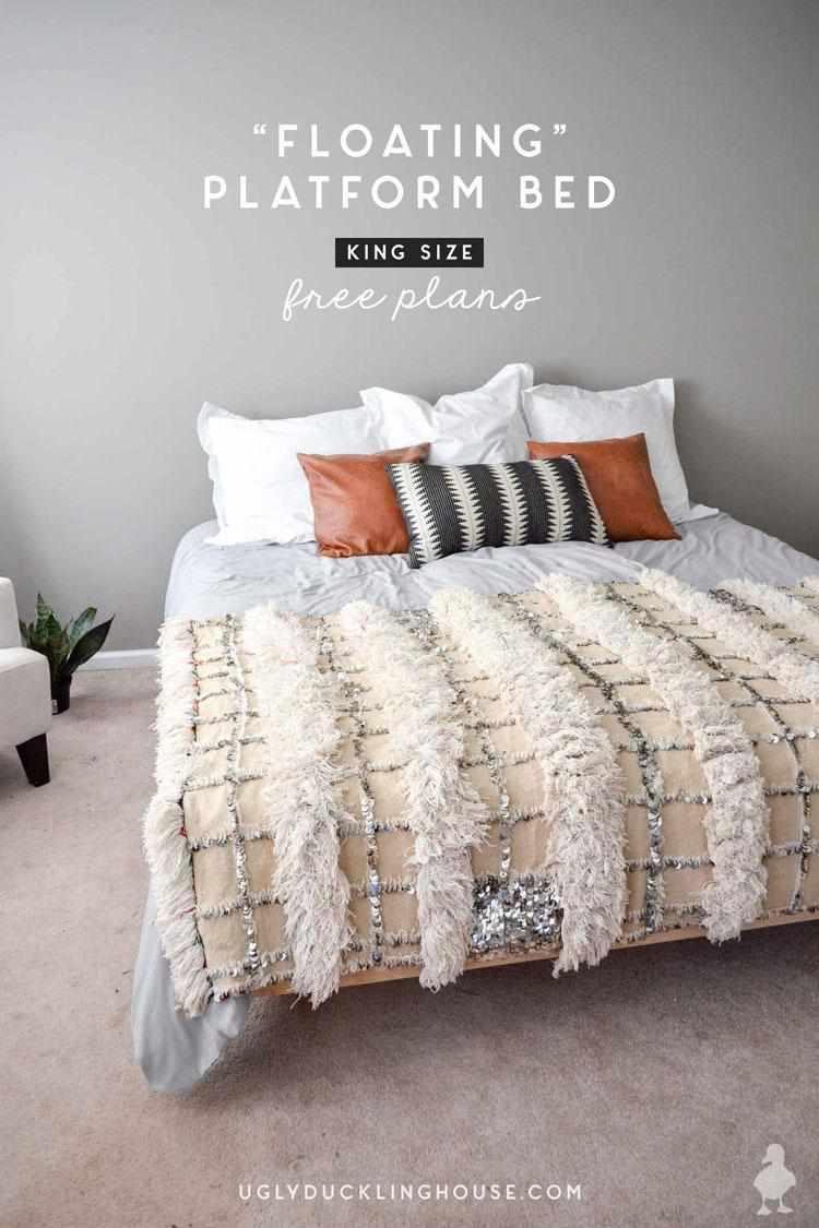 2. DIY Floating Bed Frame King Size