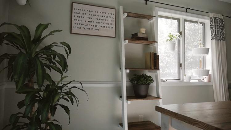 2. DIY Modern Ladder Shelf
