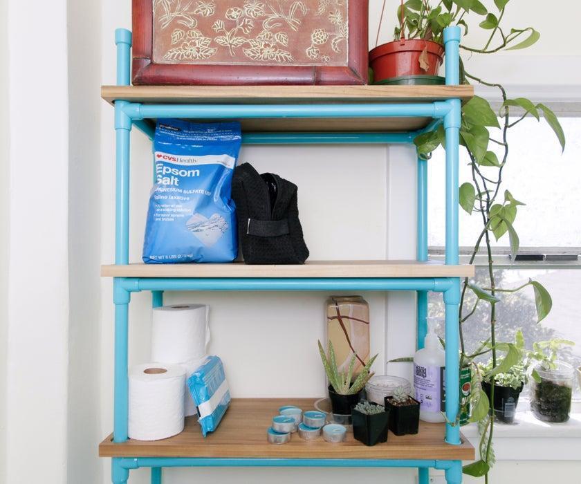 2. DIY PVC Bathroom Shelf