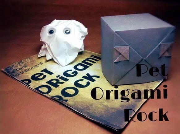 2. DIY Pet Origami Rock
