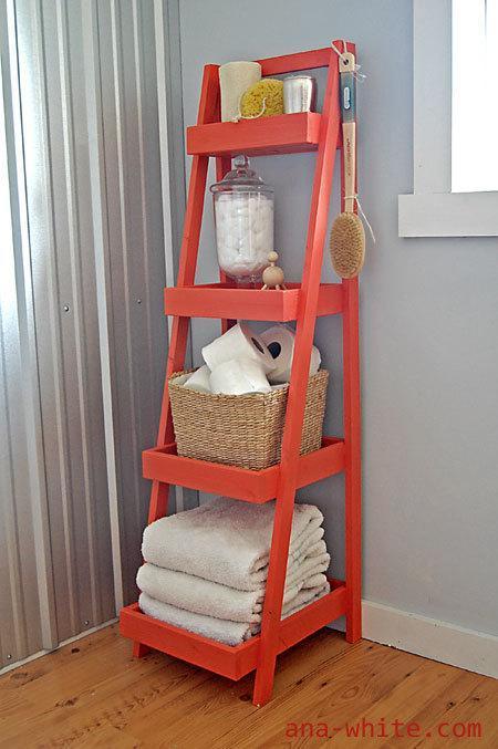 20. DIY Ladder Shelf For Bathroom