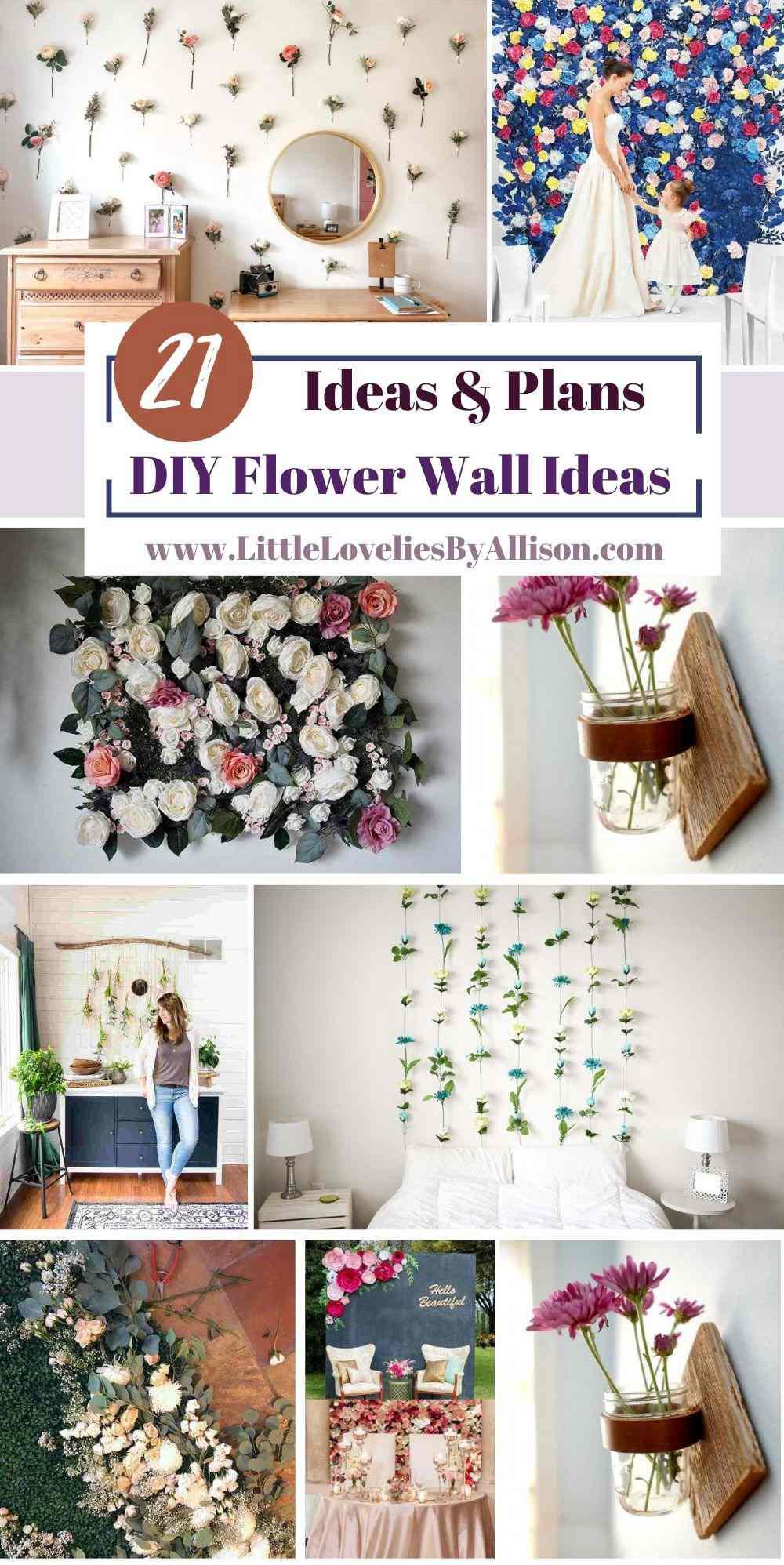 21 Self-Implementing DIY Flower Wall Ideas