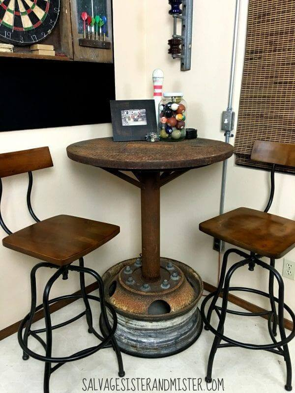 24. DIY Salvaged Industrial Bar Table