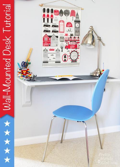 24. DIY Wall Mounted Desk Tutorial