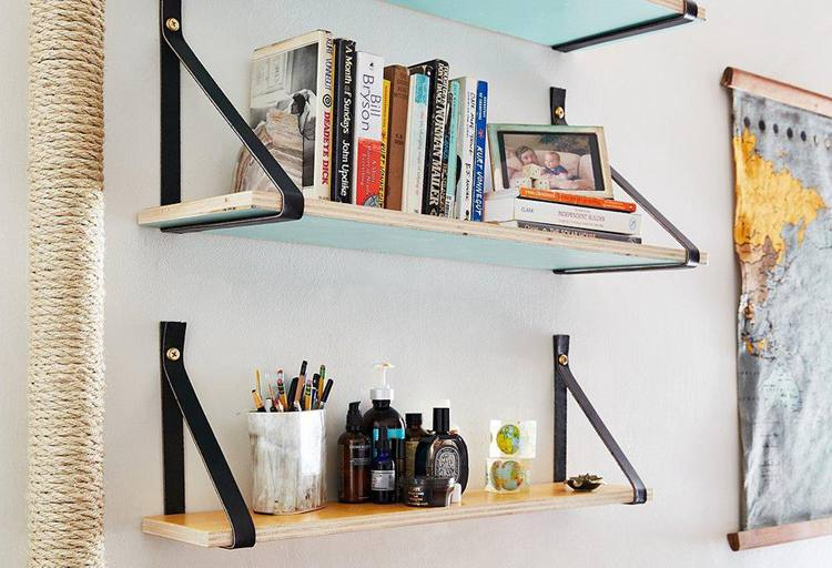24. How to Create DIY Wood and Leather-Strap Shelving