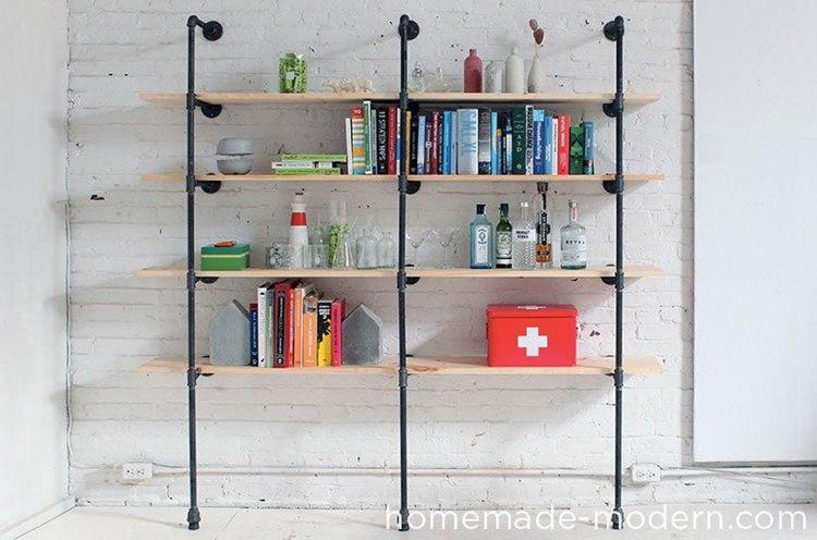 24. Modern DIY Pipe Shelves